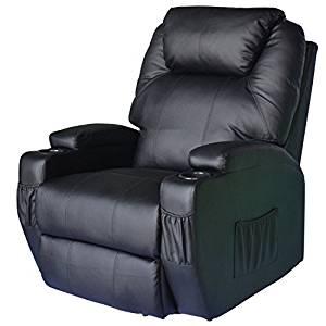 HomCom PU Leather Heated Recliner Chair